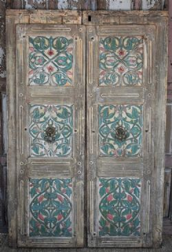 Finely carved Haveli doors from Patan, Gujarat with floral motifs circa 1870